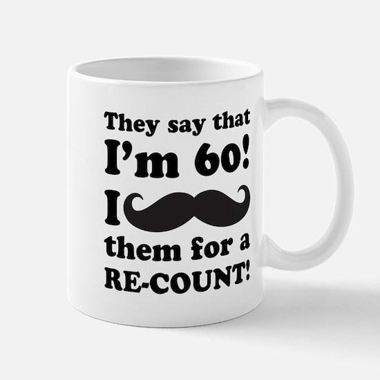 Funny Mustache 60th Birthday Mug