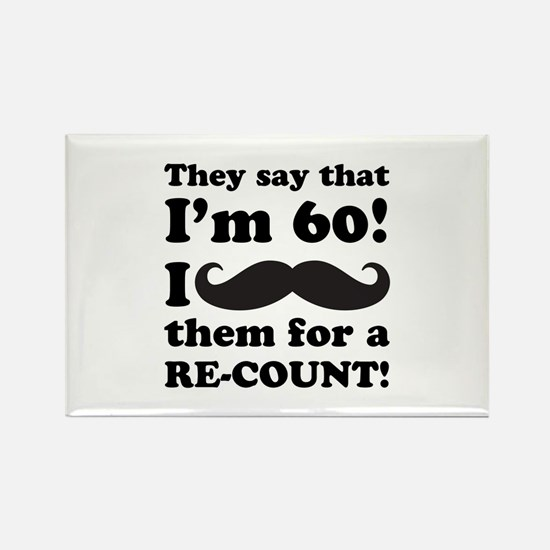 Funny Mustache 60th Birthday Rectangle Magnet