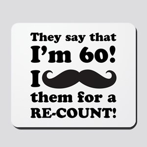 Funny Mustache 60th Birthday Mousepad