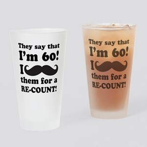 Funny Mustache 60th Birthday Drinking Glass