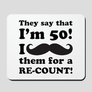 Funny Mustache 50th Birthday Mousepad