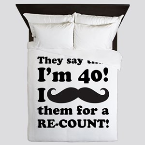 Funny Mustache 40th Birthday Queen Duvet