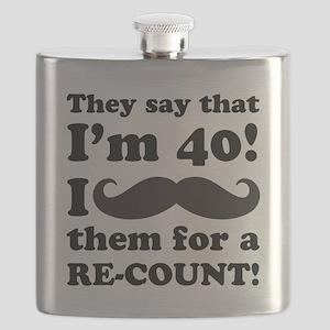 Funny Mustache 40th Birthday Flask