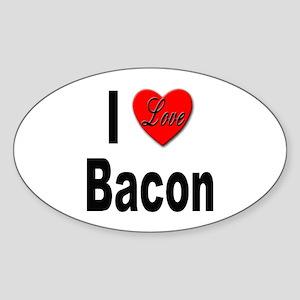 I Love Bacon Oval Sticker