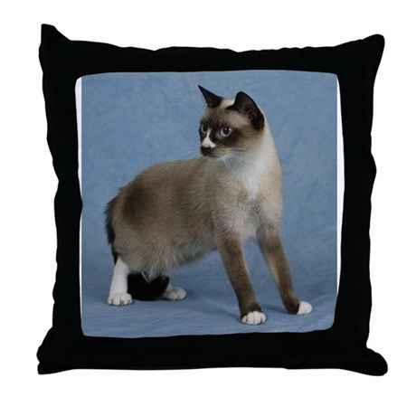 Snowshoe cat Throw Pillow