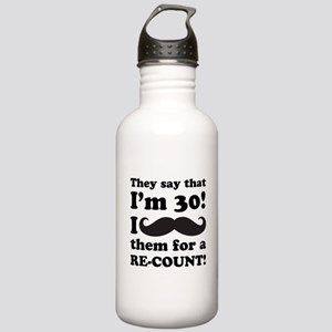 Funny Mustache 30th Birthday Stainless Water Bottl