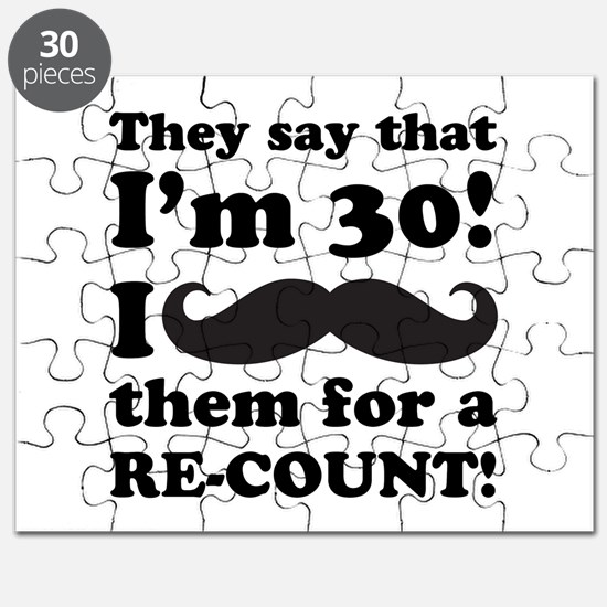 Funny Mustache 30th Birthday Puzzle