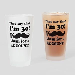 Funny Mustache 30th Birthday Drinking Glass