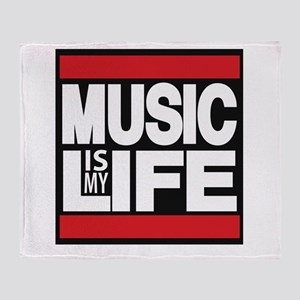 music is my life red Throw Blanket