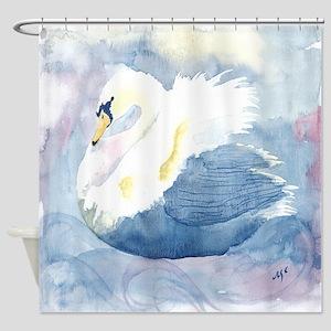 Pastel Swan Shower Curtain