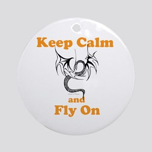 Keep Calm and Fly On Ornament (Round)