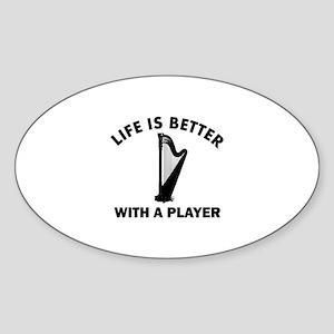 Harp Designs Sticker (Oval)