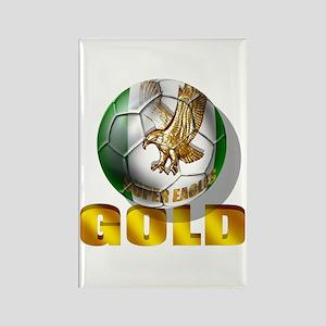 Nigerian Football Gold Rectangle Magnet