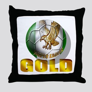 Nigerian Football Gold Throw Pillow