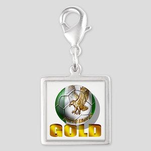 Nigerian Football Gold Silver Square Charm