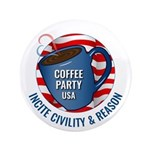 """Large 3.5"""" Button   Coffee Party Usa"""