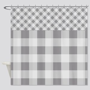 Pebble Grey Gingham Shower Curtain