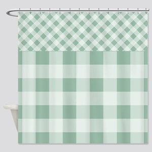Jade Green Gingham pattern Shower Curtain
