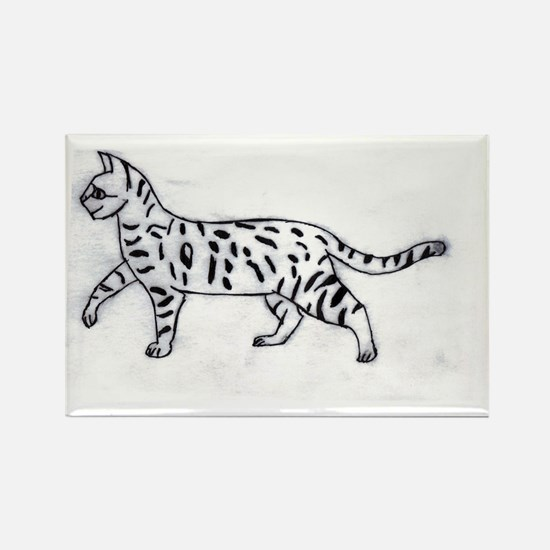 Bengal or Savannah Cat Rectangle Magnet