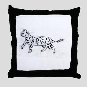Bengal or Savannah Cat Throw Pillow