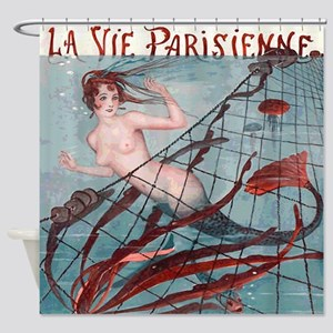 Vintage Paris Mermaid Shower Curtain