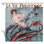 Vintage Paris Mermaid Shower Curtain