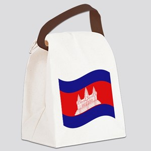 Cambodian / Khmer Flag Wave Canvas Lunch Bag