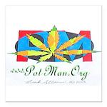 PotMan marijuana leaf logo 2 Square Car Magnet 3&q