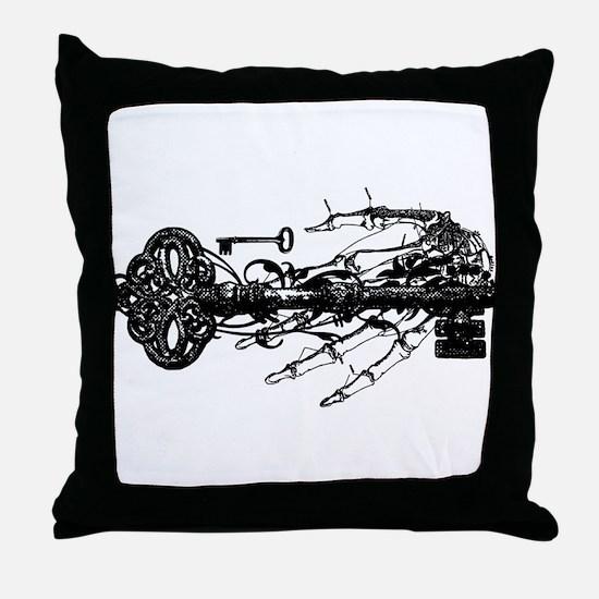 Key And Skeleton Hand Throw Pillow