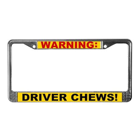 Driver Chews License Plate Frame