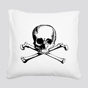 Classic Skull And Crossbones Square Canvas Pillow