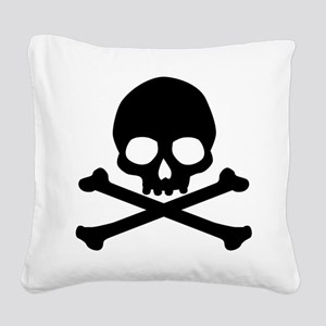 Simple Skull And Crossbones Square Canvas Pillow