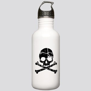 Crackled Skull And Crossbones Stainless Water Bott