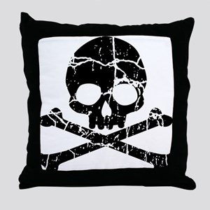 Crackled Skull And Crossbones Throw Pillow