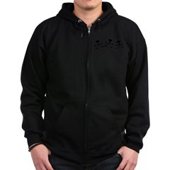 Cute Skulls And Crossbones Zip Hoodie (dark)