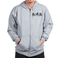 Cute Skulls And Crossbones Zip Hoodie