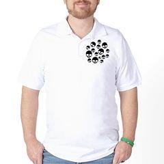 Random Skull Pattern Golf Shirt