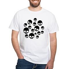 Random Skull Pattern White T-Shirt
