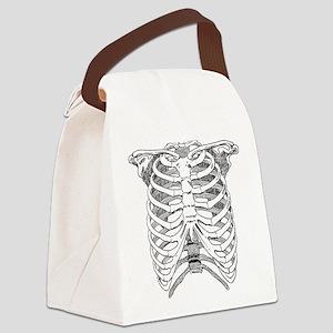 Ribcage Illustration Canvas Lunch Bag
