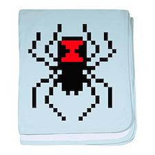 Pixel Black Widow Spider baby blanket