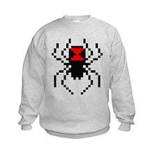 Pixel Black Widow Spider Kids Sweatshirt