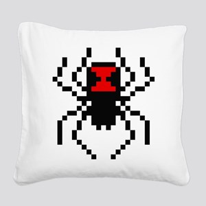 Pixel Black Widow Spider Square Canvas Pillow