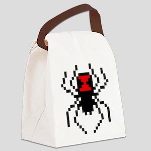 Pixel Black Widow Spider Canvas Lunch Bag