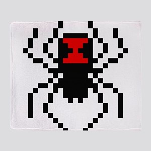 Pixel Black Widow Spider Throw Blanket