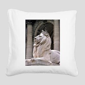 NY Public Library Lion: Fortitude Square Canvas Pi