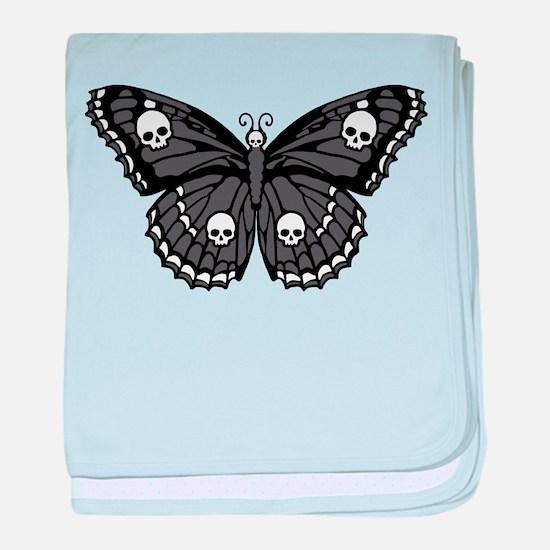 Gothic Skull Butterfly baby blanket