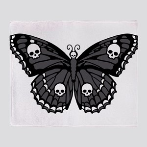 Gothic Skull Butterfly Throw Blanket