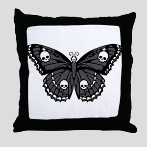 Gothic Skull Butterfly Throw Pillow