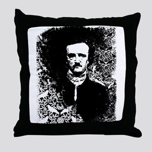 Poe On Raven Pattern Throw Pillow