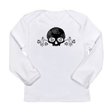 Skull With Flower Motif Long Sleeve Infant T-Shirt